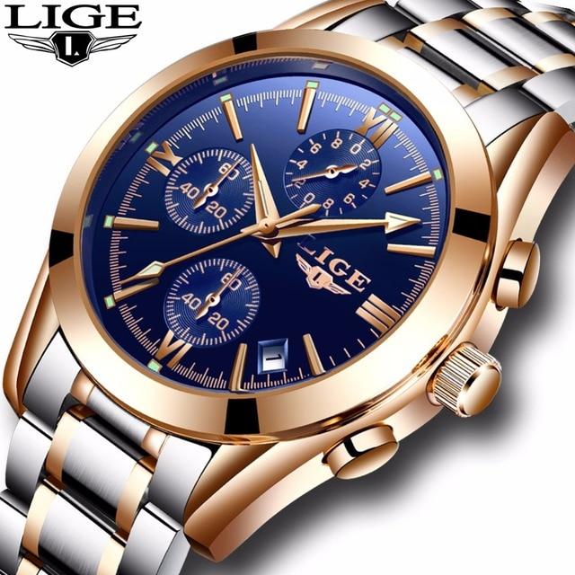 Mens watch LIGE Top Brand Luxury Business Quartz Watch Men Waterproof Full Steel Clock Male Dress watches+box Relogio Masculion