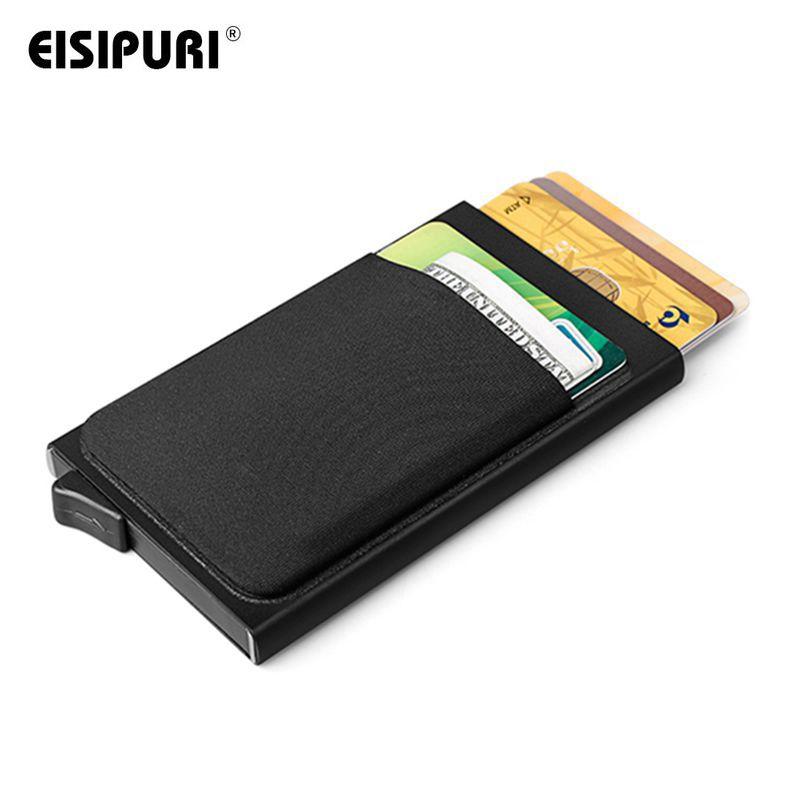 Carbon Credit Card Holder Automatic Pop-Up Aluminum Wallet RFID Blocker Black