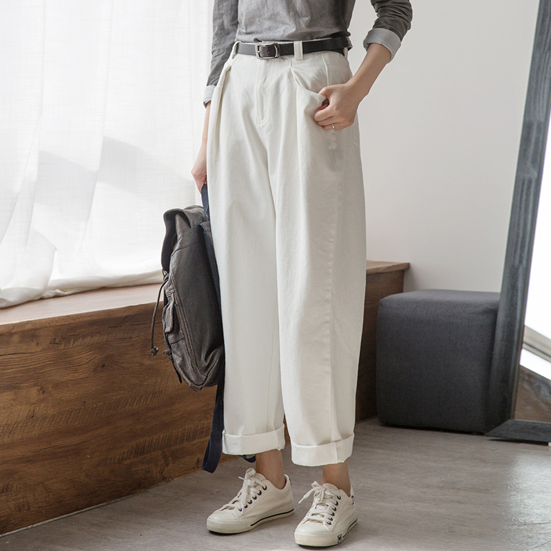Johnature New Solid Color Casual Denim Straight Pants 2020 Spring Vintage Style Loose Zipper Pockets Sashes Full Length Pants