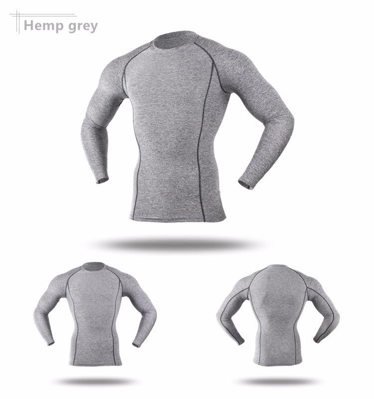 T-shirt de sport pour homme ARSUXEO gris, manches longues, moulant slim, gym musculation cyclisme running, vue de face et de dos