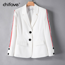 2018 New chifave Women Blazer Contrast Color Ribbon Patchwork Sleeve Ladies Blazer Plus Size Casual Female Office Blazer Jackets