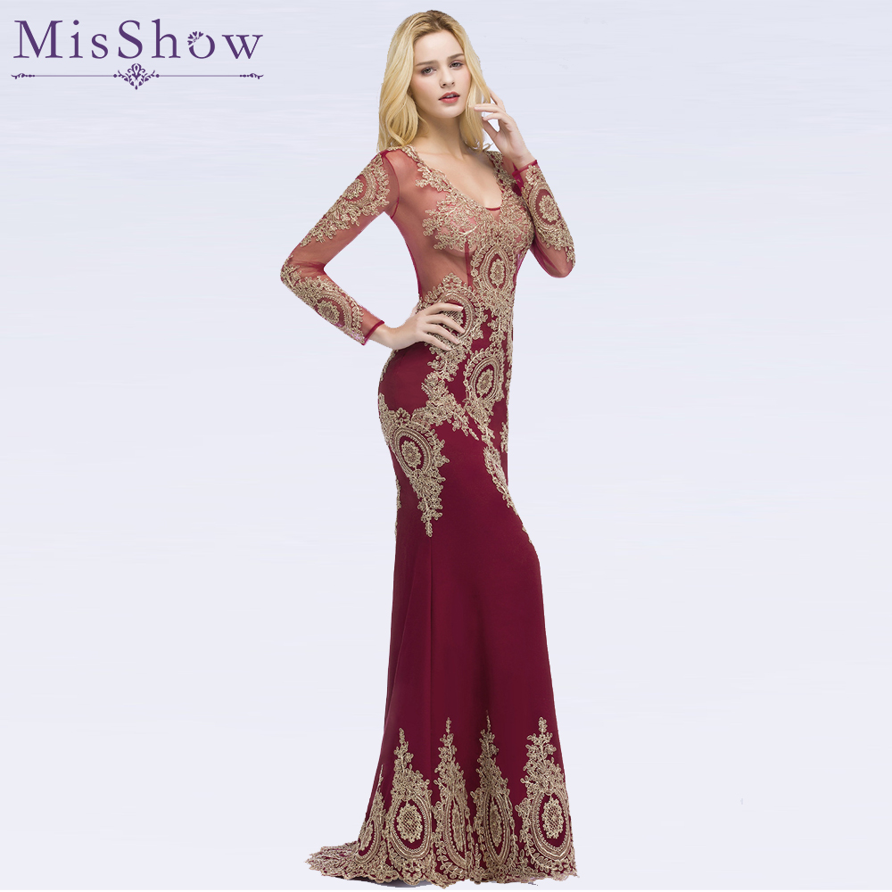 Gorgeous Dubai   Prom     Dresses   Golden Applique Women Formal   Dress   Long Sleeve Mermaid   prom   Gowns Vestido Longo Evening   Dresses   2019