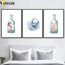 VERASUN Coral Crab Sea Horse Wall Art Canvas Painting Plakaty i reprodukcje Animal Canvas Prints Zdjęcia ściennych do salonu