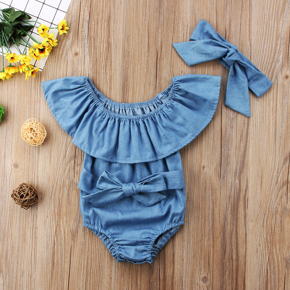 2Pcs Newborn Kids Ruffles Denim Romper Baby Girls Front Bowknot Jumpsuit Outfits Clothes