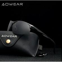 AOWEAR Aluminum Magnesium Sports Sunglasses Men Polarized Ri