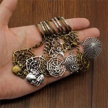 Hot Sale New Skull Keychain Keyholder Spider Trinket Car Handmade DIY Men Jewelry Souvenir Gift For