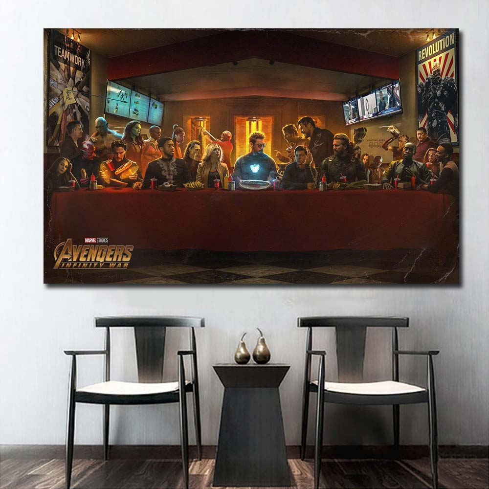 Avengers Infinity War SuperHeros Character The Last Supper Movie Wall Decor Silk Prints Poster Paintings For Living Room NoFrame image