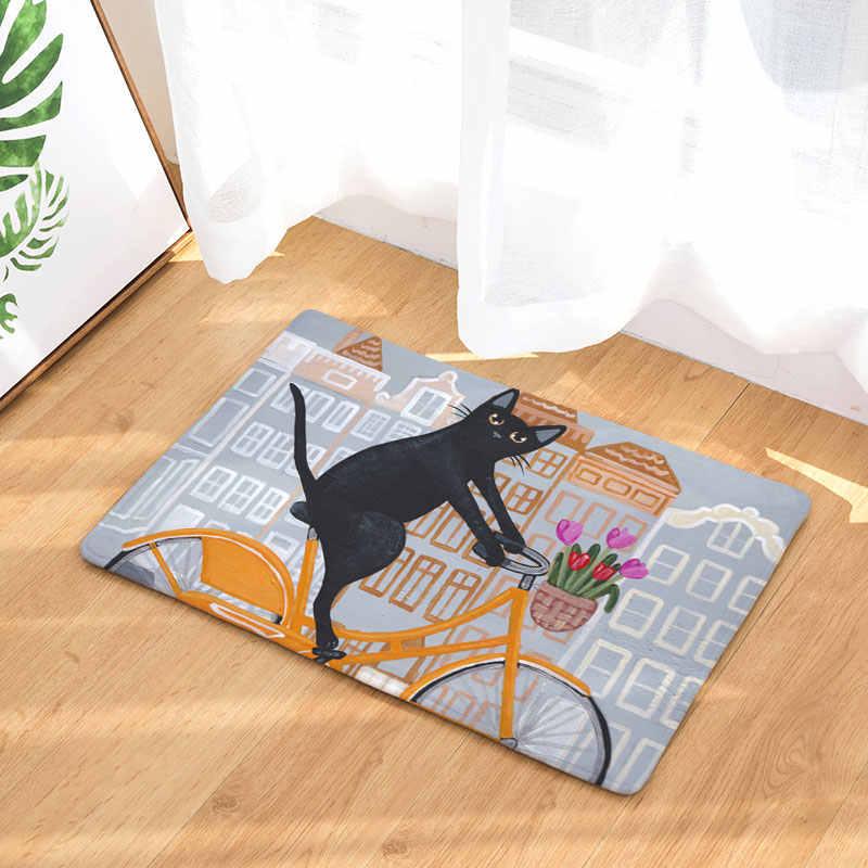 Monily antypoślizgowa wodoodporna podłogowa mata Cartoon słodki kociak jazdy dywany rowerowe dywaniki do sypialni dekoracyjna mata na schody wyroby do dekoracji domu