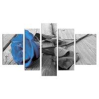 Высокое Качество Ручная Роспись Синий Розовый Flral Живопись Wall Art Deco 5 Шт. Unframed/unstretcher