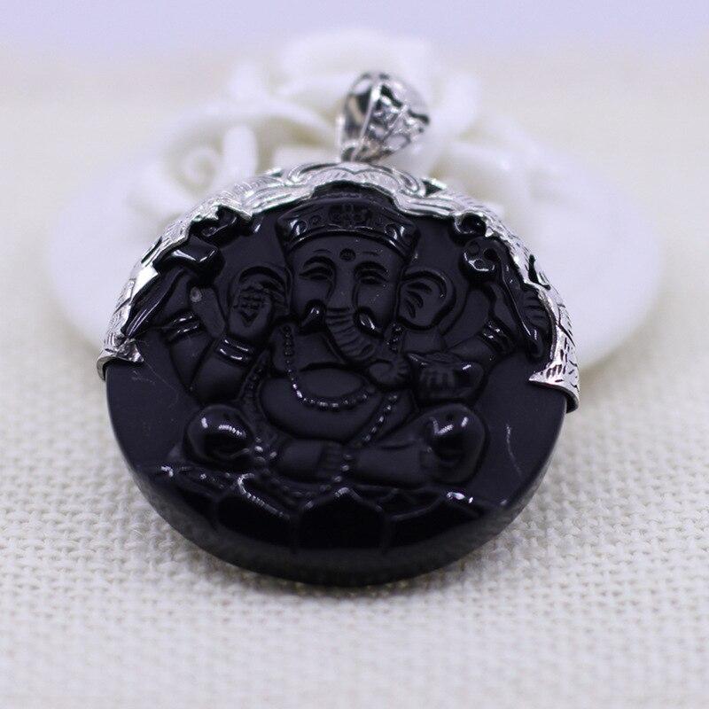 S925 Silver Jewelery Natural Black Yao Pendant