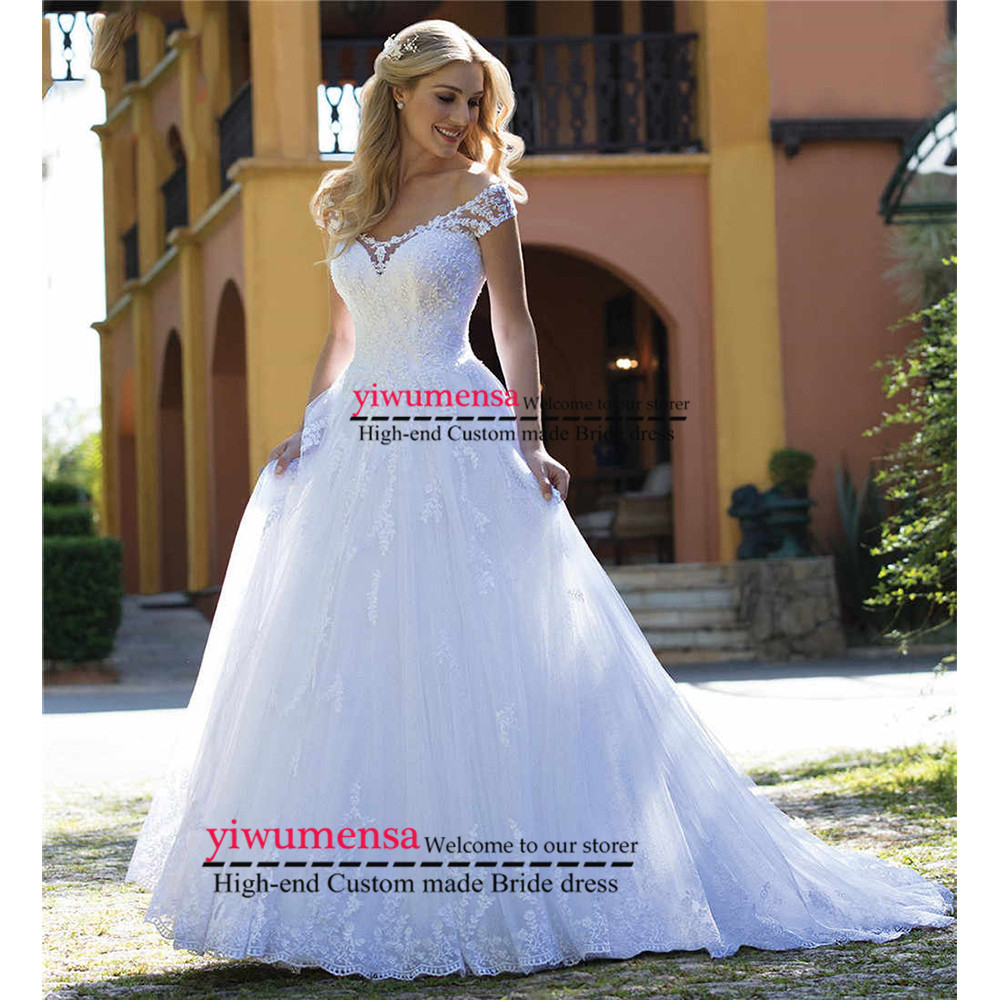 Vintage Short Sleeves Wedding Dresses 2019 Lace A line Plus Size Wedding Dress Princess Bridal Gowns
