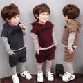 Real Photo! Hot Sale! 2016 0 child baby set children's clothing male spring and autumn sweatshirt piece set 1 - 3 - 5 years old