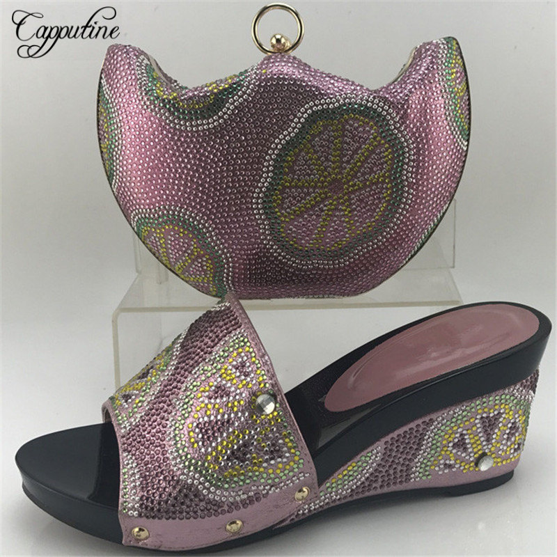 Capputine Pink Color Nigerian Style Woman Middle Heels Shoes And Bag Set Summer Italian Shoes And Purse Set For Party ME7708 capputine nigerian style woman yellow shoes and bag set for party african rhinestone middle heels shoes and bag set size 37 43
