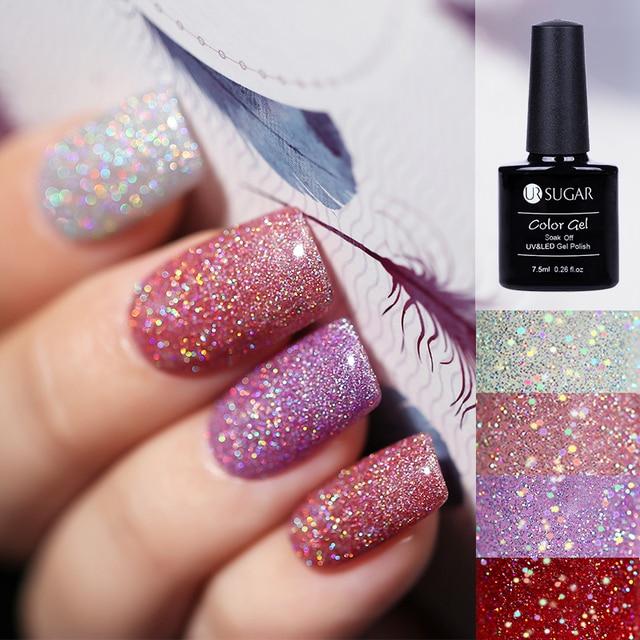 UR AÇÚCAR Holográfica Brilho Platina Prego UV Gel Polish Íris Colorido Super Brilho Brilho Manicure Soak Off Nail Art Verniz