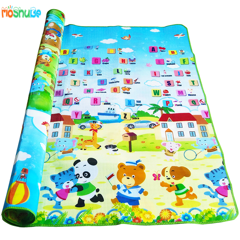HTB1iy9hkBTH8KJjy0Fiq6ARsXXaC Baby Crawling Play Mat 2*1.8 Meter Climb Pad Double-Side Fruit Letters And Happy Farm Baby Toys Playmat Kids Carpet Baby Game
