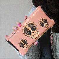 Femmes sac d'argent Boutique de Haute qualité Mode PU Cuir Femmes Portefeuilles Personnalité Punk Squelettes Crâne Rivet Long Embrayage