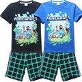 Novo 2017 da marca crianças dos desenhos animados conjunto de roupas xadrez crianças calções + camiseta 2 pcs meninos terno esporte set fit para 3-14year