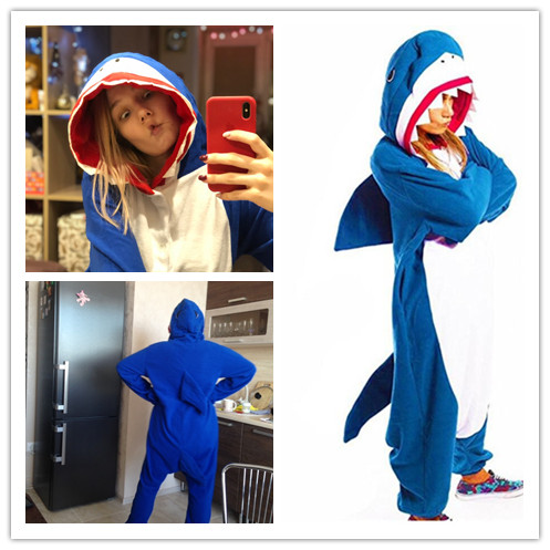 Blue Shark Role Playing Pajamas Conjoined Adult Animal Cartoon Costume, Unisex Halloween Adult Cute Cool Costume