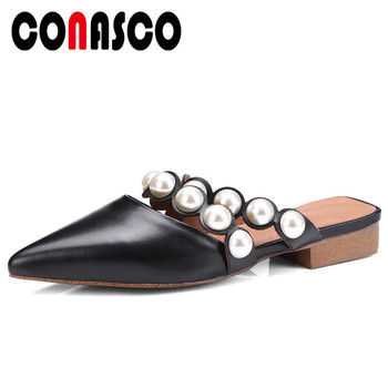 CONASCO Brand Women Summer Sandals Low Heels Genuine Leather Beading Wedding Party Shoes Woman Summer Slippers Mules Shoes