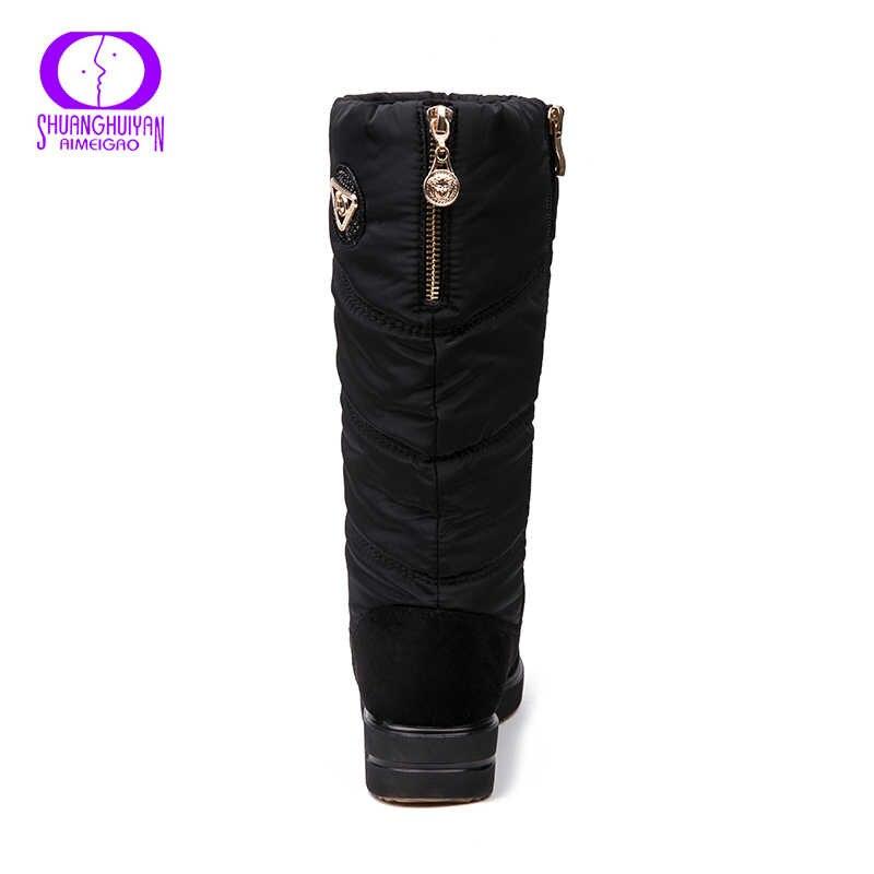 AIMEIGAO Yeni Varış Sıcak Kürk Kar Botları Kadın Peluş Astarı su geçirmez botlar Platform Topuklu Orta buzağı siyah çizmeler Yüksek Kalite