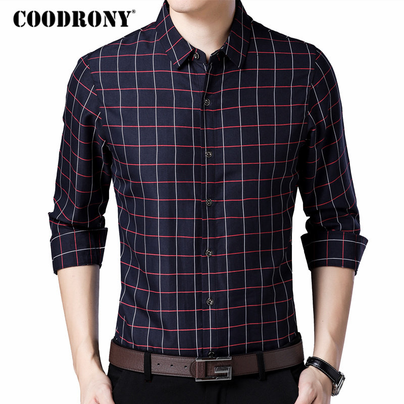 COODRONY Long Sleeve Shirt Men Clothes 2018 Autumn New Arrival Plaid Camisa Masculina Mens Business Casual Shirts Men Dress 8735