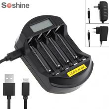 Soshine ЖК-дисплей Дисплей LifePO4 Ni-MH 4 Слот интеллектуальное Батарея Зарядное устройство для 14500/14400/AA/AAA Батарея с вилкой ЕС/США