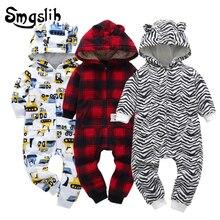 Купить с кэшбэком Baby winter clothes Newborn baby girl boy rompers hooded plush jumpsuit overalls for kids coral fleece baby pajamas christmas