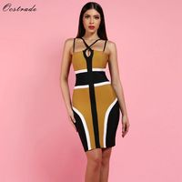Ocstrade New Bandage Dress 2019 Christmas Party Women Bandage Dress Elegant Sexy Ginger Halter Neck XL Bandage Dress Plus Size