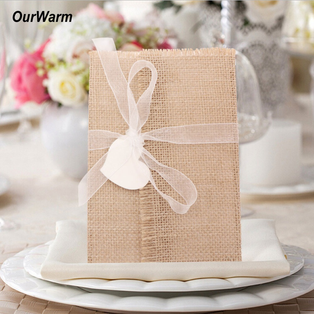 Ourwarm 10pcs Diy Wedding Invitation Cards Ribbon Envelope Burlap Blank Paper Baptism Rustic Party Engagement Decoration