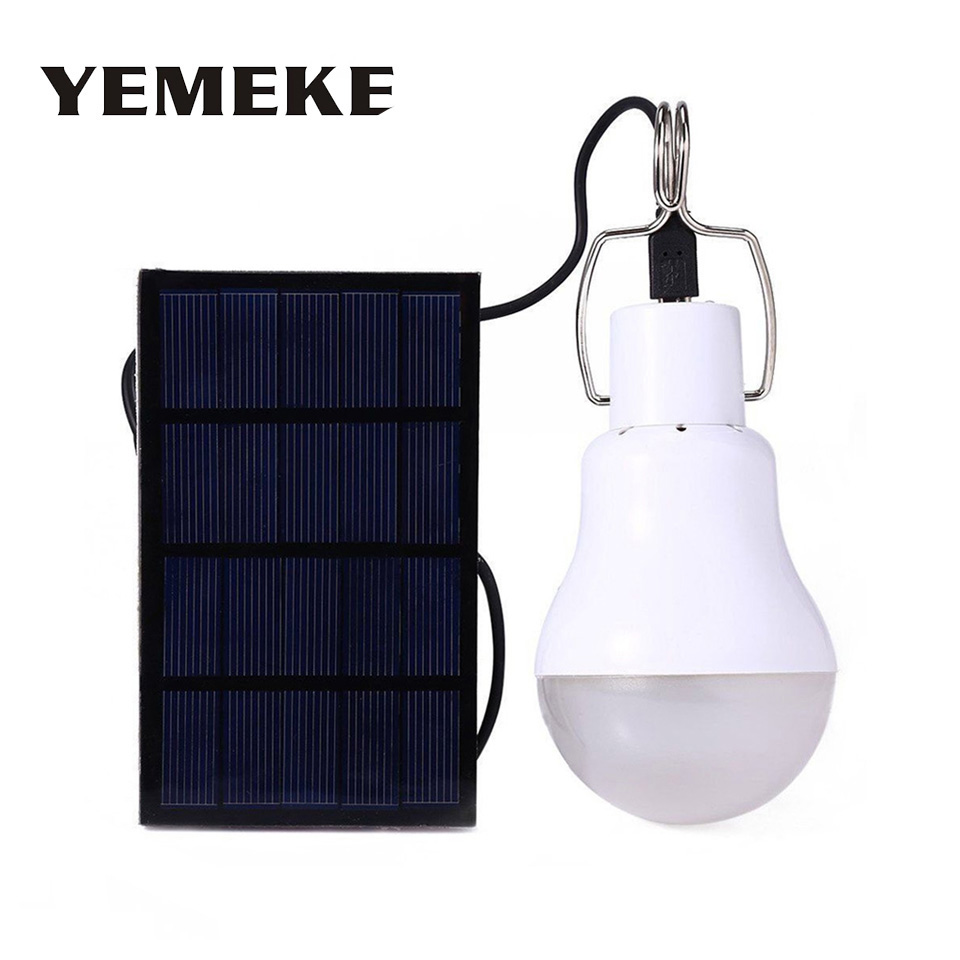 Us 7 56 48 Off 15w 130lm Led Solar Lamp Outdoor Led Solar Light Bulb Hanging Solar Lamps For Garden Decoration Path Rechargeable Camping Light In