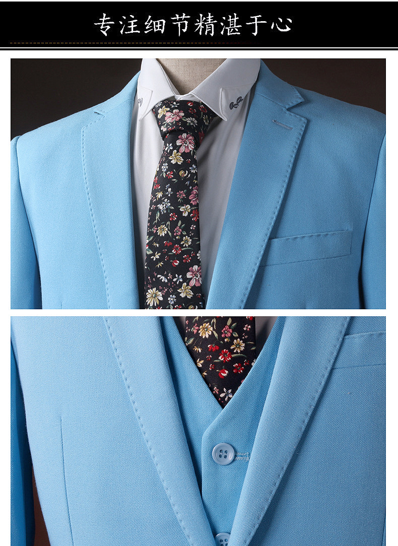 2017 New In stock Best man suit Groom Tuxedos Business light Blue ...