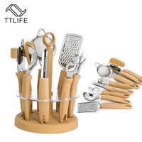 TTLIFE 8 Pcs RestauKitchen Utensil Sets Wooden Handle Stainless Steel Cooking Tools Set Kitchen Gadget Tool