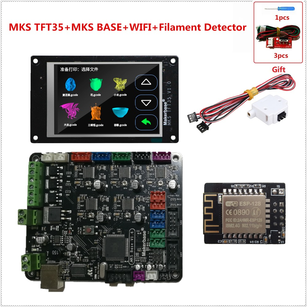 3d printer learner kit mother board MKS BASE V1.6 + MKS TFT35 touch screen + MKS TFT WIFI module + filament detecting sensor 3d printing wireless router hlk rm04 wifi module mks hlkwifi v1 1 remote control for mks tft touch screen high stability