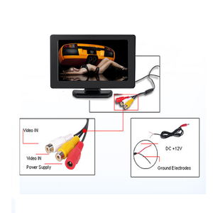 Image 5 - Hikity Car Monitor TFT LCD Color Screen 2 Video Inputs 2 Brackets For Rear View Backup Reverse Camera DVD Car Rear View Monitor
