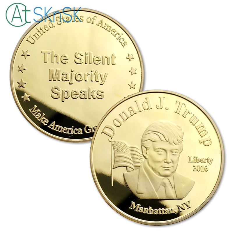 Wholesale Price 100pcs/lot Manhattan New York US President Donald Trump Item Silver/Gold Plated Commemorative Coins Collectibles