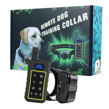 Pet Dog Training Collar Rechargeable Waterproof Dog Electronic Shock collars 1200m Remote Training Collar White LCD display