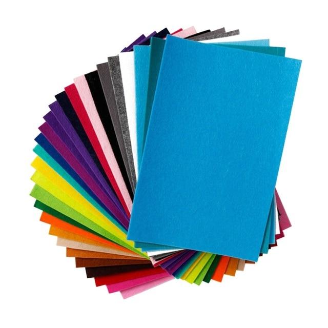 40pcs 20x10cm Non-woven Felt Fabric 1mm Polyester Cloth Felts DIY Bundle For Apparel Sewing Dolls Crafts Multi-color
