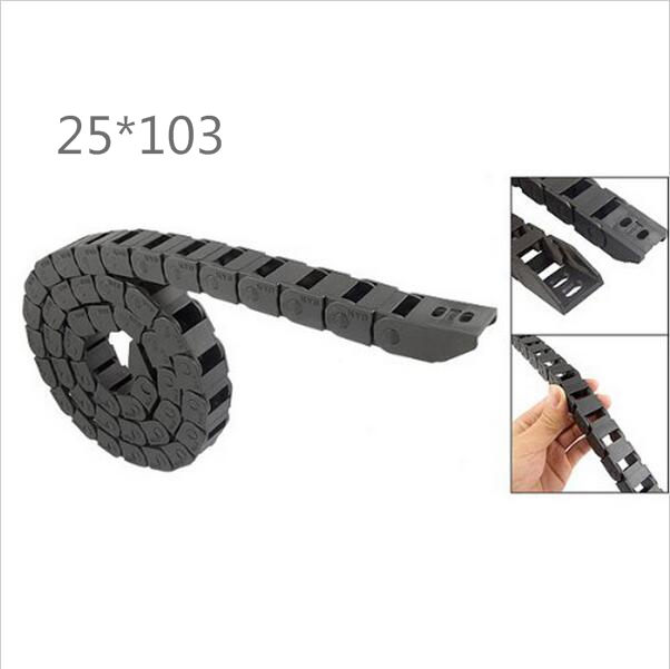 Free Shipping  1M 25*103 mm  Plastic Cable Drag Chain For CNC Machine,Inner diameter opening cover,PA66 best price 25 x 57 mm l1000mm cable drag chain wire carrier with end connectors for cnc router machine tools