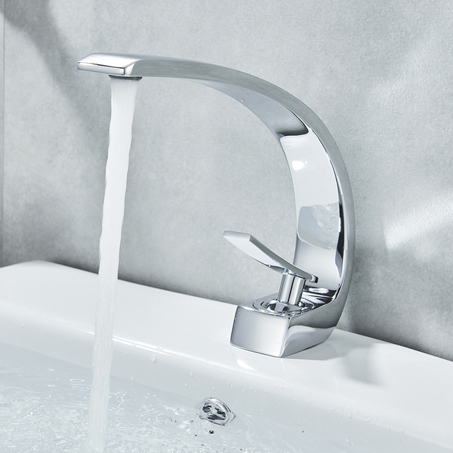 Uythner Chrome Polish Basin Faucets Bathroom Mixer Tap Brass Washbasin Faucet Single Handle Single Hole Basin Sink Crane Tap 4