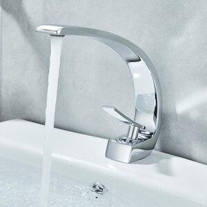 Image 4 - Uythner krom lehçe havzası musluklar banyo musluk bataryası pirinç lavabo musluk tek kolu tek delik havzası evye vinç dokunun