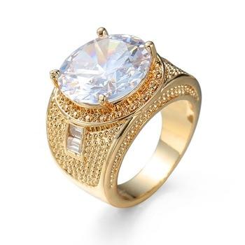7a75600d0743 Nuevo alta calidad CZ de mujeres Vintage para hombre anillos de oro lleno de  color 2017 de moda figura anillo grande de cristal de cz piedra accesorio  6-10