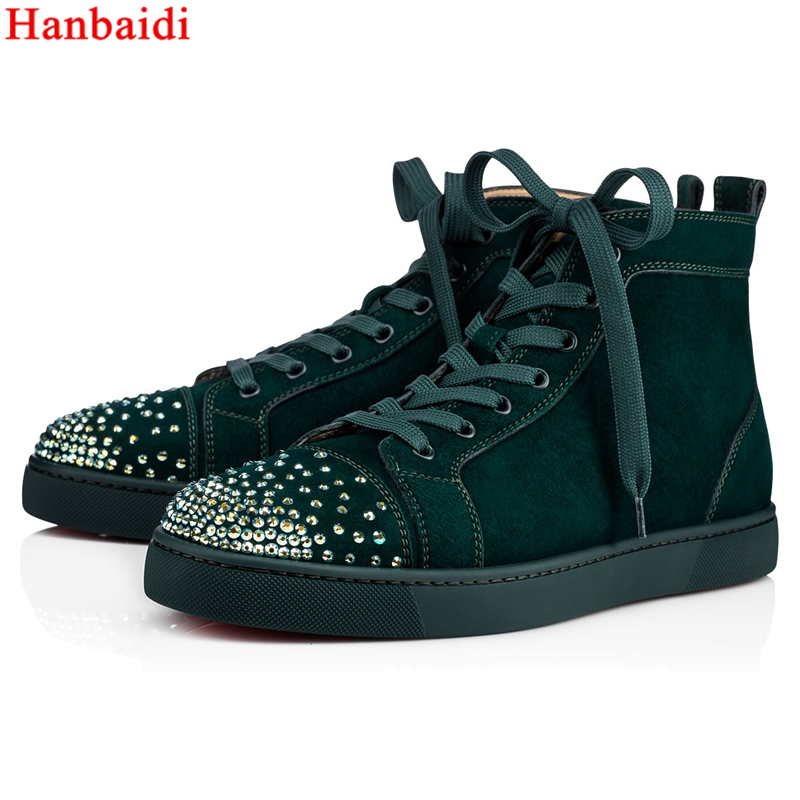 Hanbaidi 2018 brand mens sneaker High Top Men's Sneakers Round Toe Studded Rivets Spikes Shoes Lace Up Flock Leather 35 46 46