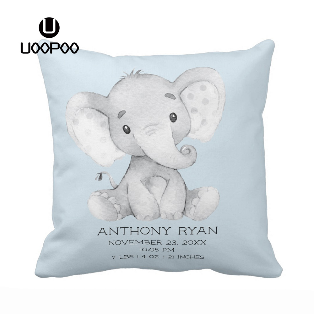 Customized Pillowcase Boy and Girl Cotton Cute Baby Elephant Pillow Case Decorative Throw Pillow Blue Cushion Covers for Kids