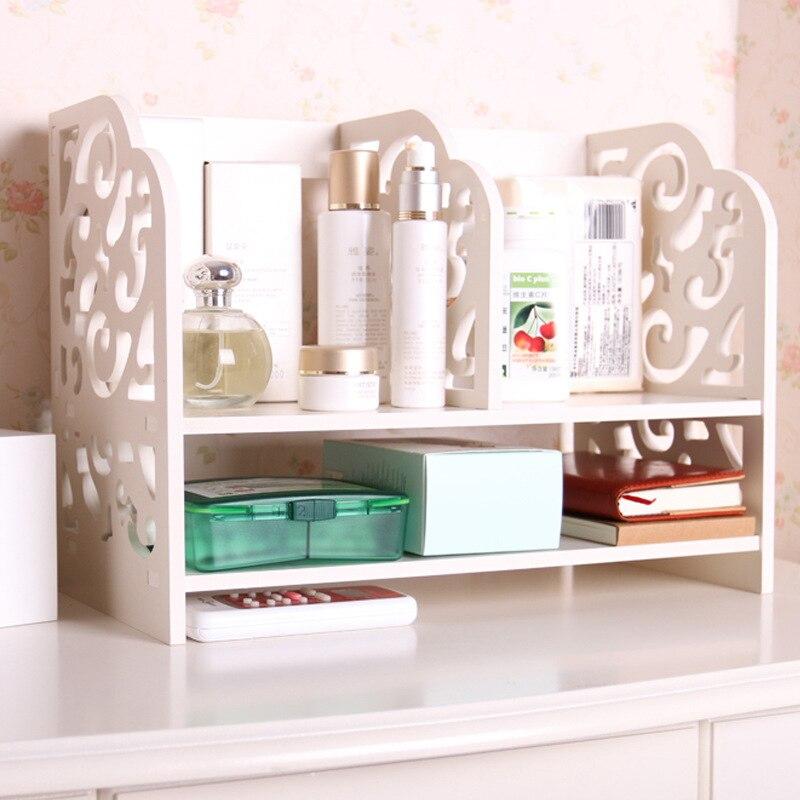 Makeup Organizer Storage Box Simple Small Shelf Office Desktop Documents Sorting Box Wood Shelf