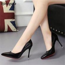 99e157137 Kjelegans zapatos mujer 2018 mulheres marca de moda saltos altos finos 9 cm  inferior red bico fino bombas escritório senhoras el.