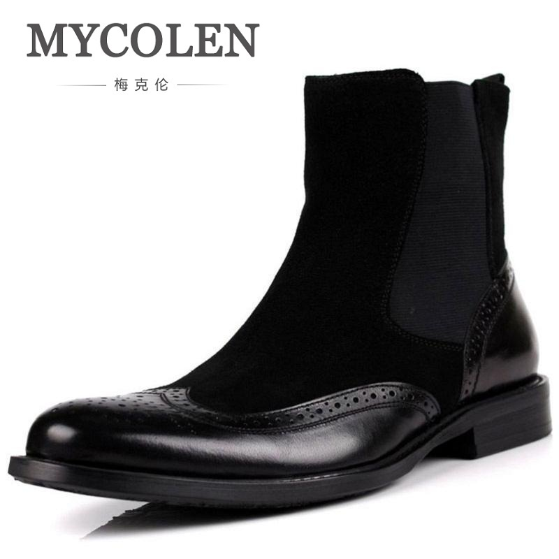MYCOLEN Brand Top Quality Brogue Men Cow Leather Ankle Boots Autumn European Style Handmade Retro Leather Men Shoes Bota Militar brogue boots two tone