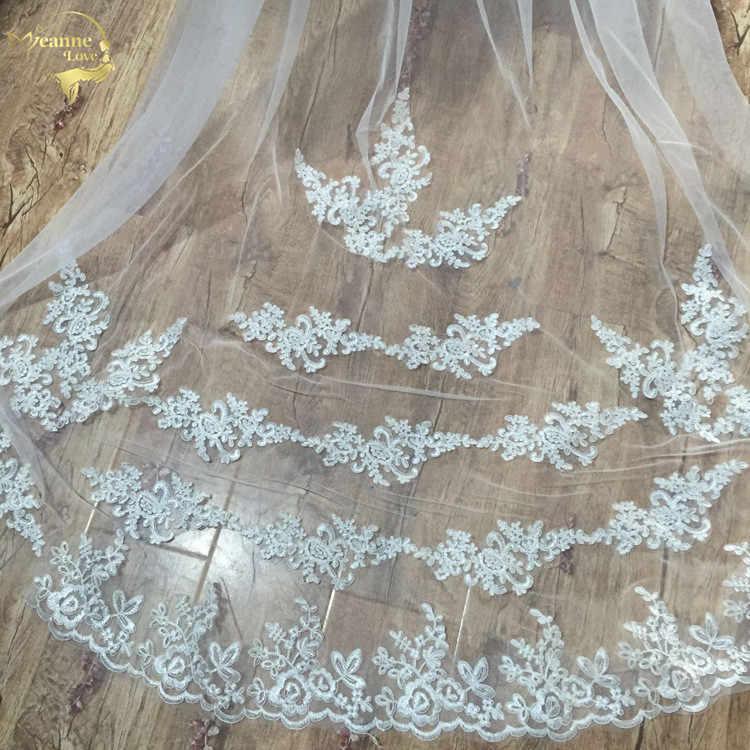 Atacado 3 M 5 M Uma Camada Borda Do Laço Branco Marfim Catherdal Véu Do Casamento Acessórios Do Casamento Longo Véu de Noiva Barato véu De Noiva