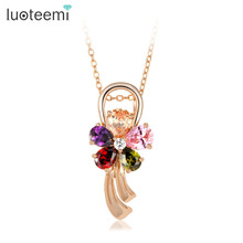 LUOTEEMI Gold-Color Multi-Color Cubic Zirconia Stone Love Flower Necklace Yiwu Factory Wholesale Chain Pendant Necklace Jewelry