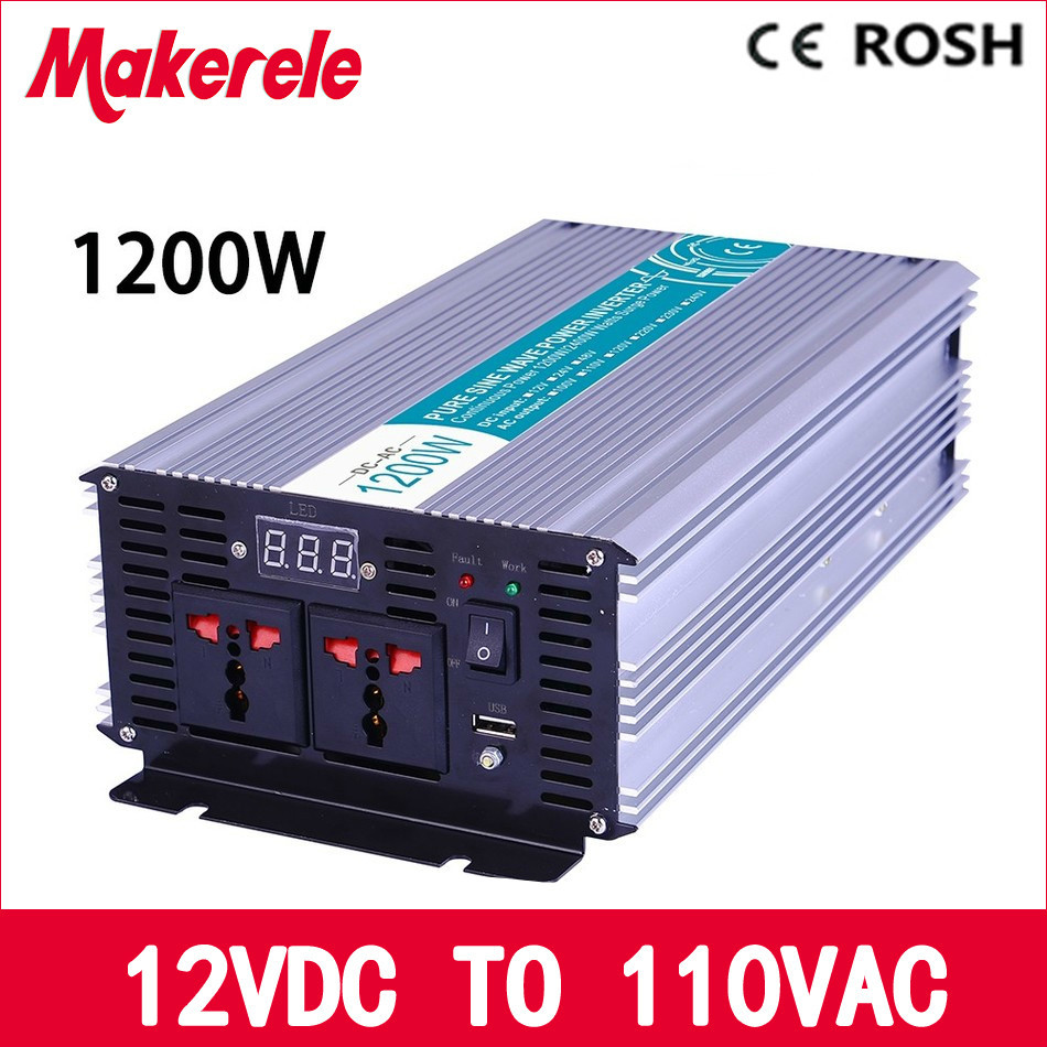 MKP1200-121 off grid 12vdc to 110vac pure sine wave 1200W solar power inverter  voltage converter LED Display full powe mkp1200 241 1200w pure sine wave power inverter 24vdc to 110vac off grid voltage converter solar inverter
