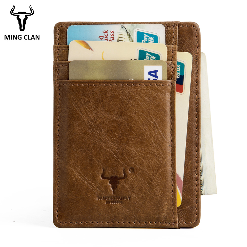 MingClan Genuine Leather Unisex Business Card Holder Wallet Bank Credit Card Case ID Holders Women Purse Card Holder Porte Carte smiley sunshine genuine leather card holder business bank credit card